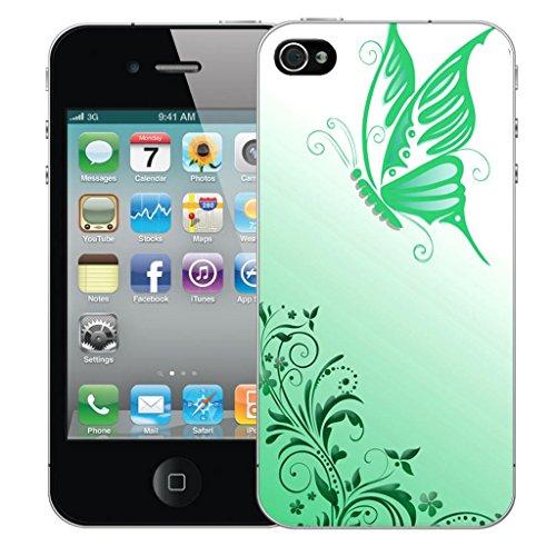 Nouveau iPhone 4s clip on Dur Coque couverture case cover Pare-chocs - fireblaze skull Motif avec Stylet flighted butterfly