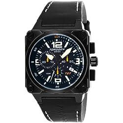 Torgoen Herren-Armbanduhr Analog Leder schwarz T27101