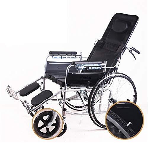BUDAOWENG Sedia a rotelle per Assistenza Sanitaria, Sedia a rotelle semovente, Telaio Leggero e Pieghevole, Sedia a rotelle con operatore a Bordo, Sedia da Viaggio Portatile,Gray