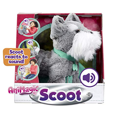 Animagic 256577, Soft Plush, Sound Responsive Movement Scoot, Elektronisches Haustier, grau