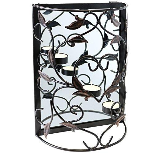 Teelicht Spiegel (Hartleys Kerzenhalter für Teelichter, mit Spiegel, zur Wandbefestigung)