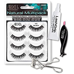 Ardell Fake Eyelashes 101 Value Pack - Natural Multipack 101 (Black), LashGrip Strip Adhesive, Dual Lash Applicator, Cameo Eyelash Curler - Everything You Need For Perfect False Eyelashes by Ardell