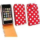 Emartbuy Apple iPhone 3G / 3GS Premium-PU-Leder Flip Case / Cover / Tasche Polka Dots rot / weiß und LCD displayschutz
