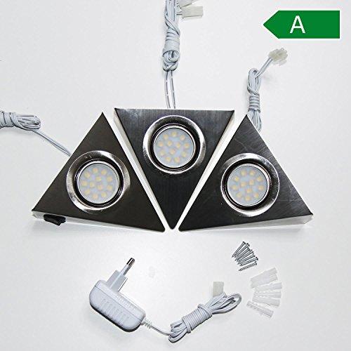 LED Unterbauleuchte Küchenbeleuchtung Küche Schrankleuchten Dreieckleuchte Edelstahl Licht | 3er SET