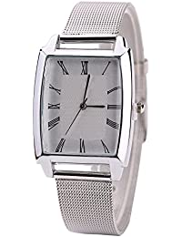 Sanwood Women's Square Case Mesh Wrist Watch Silver Band + White Dial
