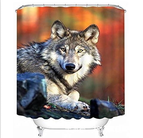 Rideaux de douche 3d Loup personnalité Impression Occlusion Confidentialité étanche Rideau, 150*180cm