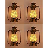 Somil Antique Wall Mount Lantern Lamp With Glass Hand Decorated With Colorful Articles For Special Lighting Effects(Set Of 4)_VC28