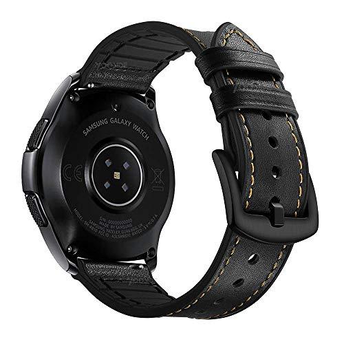 YOOSIDE Cinturino per Samsung Galaxy Watch 42mm/Galaxy Watch Active 40mm, 20mm Cinturino di Ricambio Ibrido in Vera Pelle e Silicone con Fibbia in Acciaio Inossidabile (Nero)