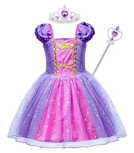 AmzBarley Prinzessin Rapunzel Kostüm Kinder Mädchen Tutu Verrücktes Kleid Kleider Halloween Cosplay Kleidung Geburtstag Party Ankleiden Karneval Zeremonie Hochzeit Abendkleid Krone Zauberstab