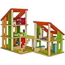 Tooky Toy Spielzeug Holz Puppenhaus Mit Puppen Und Zubehör   22 Teilig Für  Garantierten Spielspaß   Mit Bett, Wohnzimmer ...