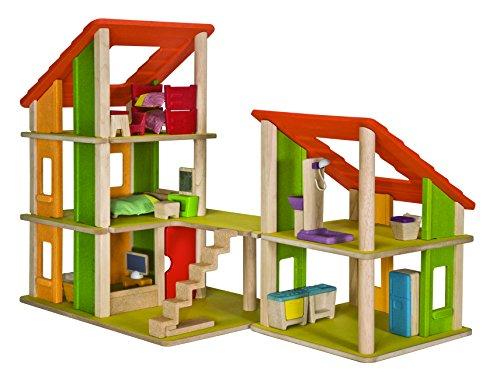 PlanToys 1357602 - Chalet Puppenhaus mit Möbel (Warehouse-dachfenster)