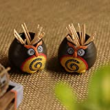 ExclusiveLane Small 'Twin Owl Pot-Faces' Toothpick Holder In Terracotta (Set Of 2) -Toothpick Holder Ceramic Fancy For Hotel Dining Table Toothpick Stand Box Organiser Toothpick Dispenser Case