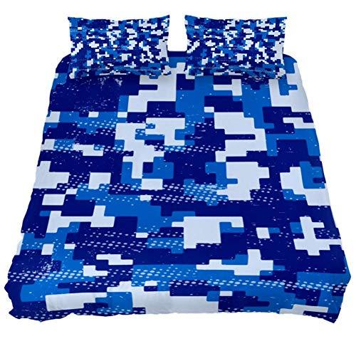 Buyxbn Camouflage Blue 3-teiliges Bettwäsche-Set Bedruckt Tröster Bezug mit 2 Kissenbezügen Bettwäsche Dekoration für Teenager Kinder Jungen Mädchen Erwachsene, Color-1, Full 200 x 226 (x 75 cm -