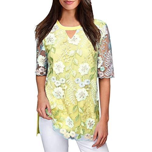 Kviklo Deman Mesh Top Flower Leaves Ethnisch gesticktes lässiges O-Neck T-Shirt Chiffon Bluse(L(38),Gelb)