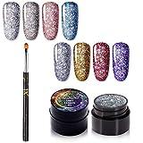 ROSALIND Smalto per unghie al neon arcobaleno gel, 8 bottiglie 5 ml di gel per smalto ibrido per unghie Set di gel per pittura fai da te, 1 pz regalo per pennello per unghie