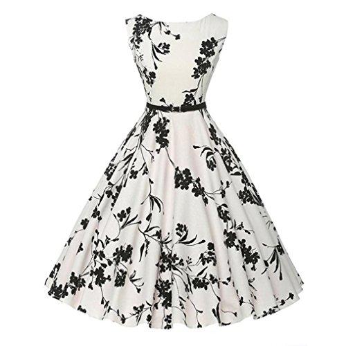 UFACE 50s Retro Vintage Rockabilly Kleid Partykleider Cocktailkleider (Schwarz und Weiß Drucken, XS)