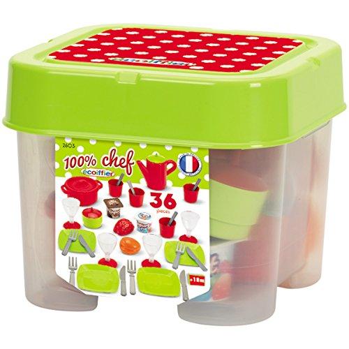 Unbekannt Puppenservice Box mit Gedeck, Becher, Gläser, Teller, Besteck etc. - Picknick Geschirr...