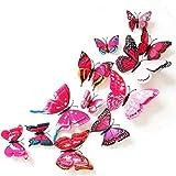 Dosige Rosa 3D Schmetterling DIY Wand Deko Wandtattoos Wandaufkleber Wallsticker Abnehmbare Wandtattoo Sticker Wanddeko Wandkunst 12pcs/Set