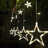 Salcar - LED Lichterkette mit LED Kugel 12 Sterne 138 Leuchtioden Lichtervorhang Sternenvorhang 8 Modi Innen & Außenlichterkette Wasserdicht dekoration für Weihnachten Deko Party Festen - Warmweiß