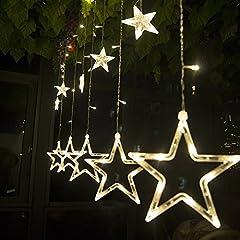 Idea Regalo - SALCAR Catena Luminosa con Sfere a LED, 12 Stelle, 138 luci, Tenda a Stella, 8 modalità, per Interni ed Esterni, Impermeabile, Decorazione per Natale, Feste, Rame, Bianco Caldo