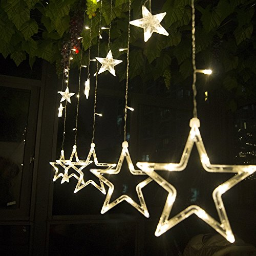 Salcar luci colorate di natale del led 2 * 1 metro 12 stelle colorate illuminano tenda per le feste di natale, decorare, party, 8 programmi scelta di colori (bianco caldo)