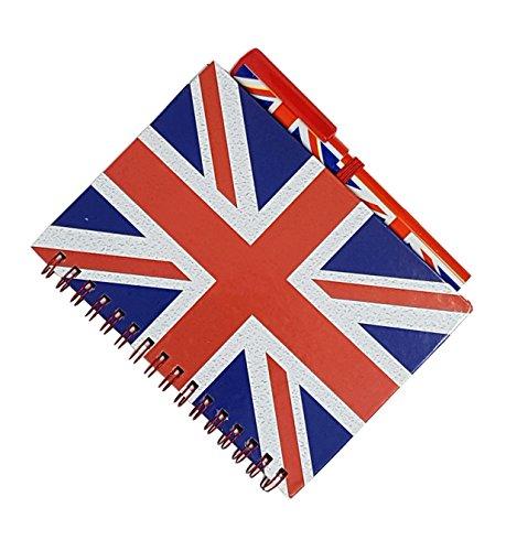 Union Jack Notizblock und passendem Stift - Medium A6 Größe/London Souvenir Notizbuch, Drahtkammbindung/britische Flagge Print/Distressed/UK Notizblock