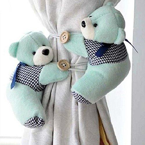 1 paio di fermatenda a orsetto per stanza dei bambini, con corda e gancio, verde