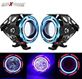 #10: AllExtreme U11 CREE LED Headlight Projector Fog Lamp with Dual Ring Red & Blue Angel Eyes Fog Light for Car Motorcycle Jeep (3000LM, Pack of 2)