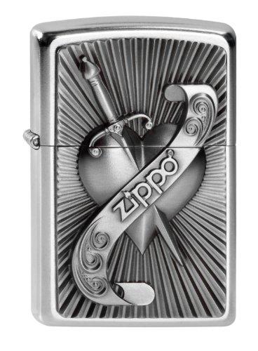 Zippo Herren Feuerzeug 2003969 Heart with Sword Benzinfeuerzeug, Edelstahloptik, 1 x 3,5 x 5,5 cm