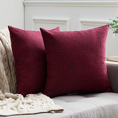 MIULEE 2er Pack Leinenoptik Home Dekorative Kissenbezug Kissenhülle Kissenbezug für Sofa Schlafzimmer Auto mit Reißverschlüsse 45x45 cm Crimson -