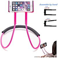 MIMIEYES Lazy Hang Neck Phone Holder Flexible Bracket, DIY Free Rotating Mounts with Multi-function for Desktop Bed Car (Pink)