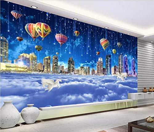 Fototapete 3D Effekt Fantasie-sternenklarer Wolken-Märchenland-Heißluft-Ballon-Hintergrund-Wand Tapete Vliestapete Wandbilder Wanddeko