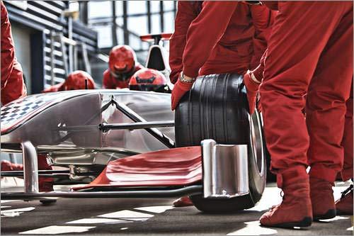 Posterlounge Lienzo 180 x 120 cm: Tire Change in Seconds de Tom Merton/Fotofinder.com - Cuadro Terminado, Cuadro sobre Bastidor, lámina terminada sobre Lienzo auténtico, impresión en Lienzo