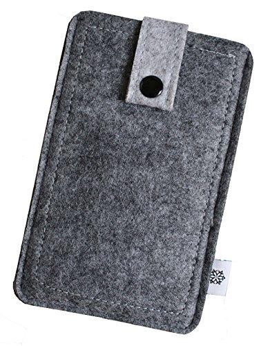 Dealbude24 Filz-Tasche in Grau für Samsung Galaxy S3 Mini und S4 Mini mit Hülle, Hochwertige Handy-Hülle, Schutz-Cover mit Herausziehband und Drucknopf, reißfestes Schutz-Etui - XS