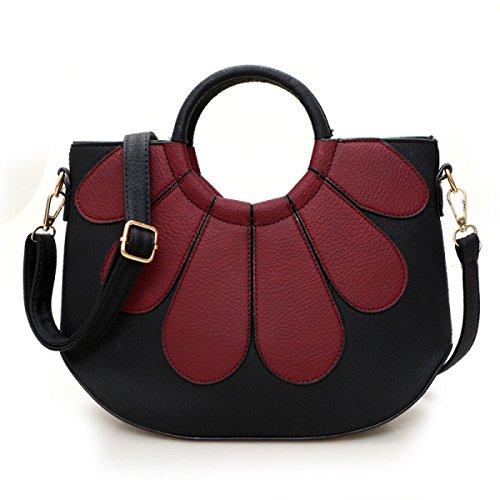 Damen Handtasche Umhängetasche,DarkGreen DarkRed