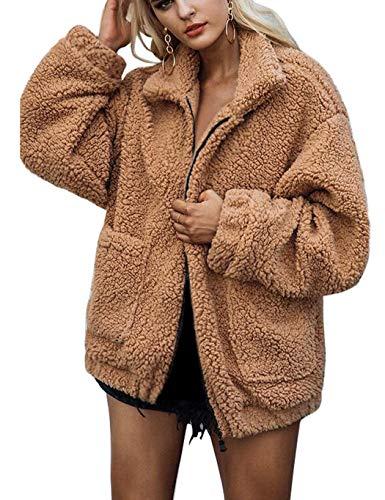 Soteer Damen Teddyfleecejacke Casual Wintermantel Revers Faux Wolle Warm Outwear Plüsch Winterjacke Coat Winterparka Reißverschluss Kurze Warme Down Coat