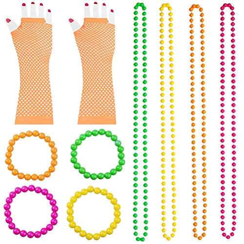 TENDYCOCO St. Patrick's Day Zubehör Set Perlen Halsketten Armbänder Fingerlose Netzhandschuhe Dress Up Set Irish Festival Party Kostüm Zubehör (Orange) (Saint Dress Up Kostüm)