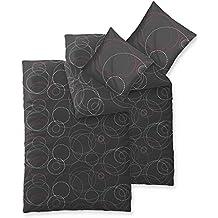 Renforcè Bettwäsche 2x 155 x 220 cm 100% Baumwolle 4-Jahreszeiten   viele Größen   Trend Cariba 4-tlg.   Kreise Punkte anthrazit grau rot   aqua-textil 0011772
