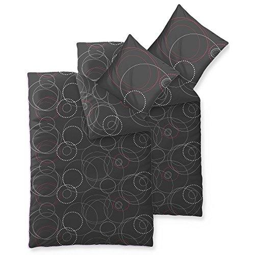 aqua-textil Trend Cariba Bettwäsche 4 teilig 135x200 Baumwolle atmungsaktiver weicher Bettbezug Kissen weiß grau anthrazit schwarz rot Kreis Punkt 0011760