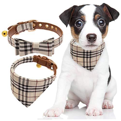BINGPET 2 Stücke verstellbare Bowtie kleine Hundehalsband und Karierten Bandana Kragen mit Glocke Leder für Welpen Hunde Katzen -