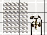 PVC Fliesen | Dekorations-Sticker Aufkleber Folie Badfolie Küchen-Fliesen Badezimmergestaltung | 20x25 cm Muster Ornament Triangle Pattern - Grau - 9 Stück