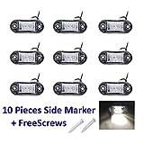 PolarLander 10PCS / Set 2 LED Selbstauto-LKW-Anhänger-Karawanenseiten-Markierungs-Licht-Abstands-Lampe 12V 24V weiße Farbe Universal