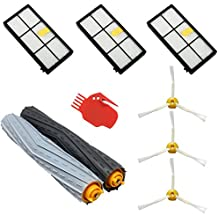 ASP-ROBOT® Recambios Roomba serie 800 y 900 (866 870 871 880 960 980). Filtro hepa, cepillo lateral, rodillo central y accesorios. Pack repuestos. KIT recambio nuevo (3 x filtros, 3 x cepillos de 3 aspas, 1 x pack de cepillos extractores, 1 x herramienta limpieza