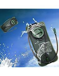JTENG Bolsa de Agua de Hidratación para Ciclismo Deporte Senderismo Campaña Escalada Bicicleta 2L Verde de Ejército Portable