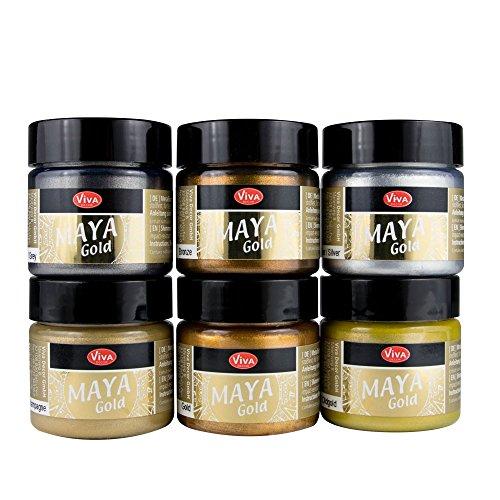 Maya Gold 6er Set (Glamour) inkl. LM Pinsel --- Viva Decor Metallic Effektfarbe, Metallglanz, Effekt Farbe Metall, Bastelfarbe, Dekofarbe - Bronze, Beton