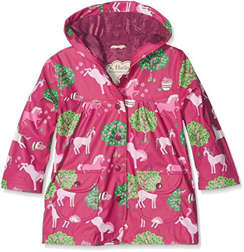 Hatley Girl's Printed Raincoat, Red (Pony Orchard), 5 Years