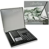 Cretacolor Black Box Charcoal Drawing Set of 20 - Tin Box (Free Brustro Artists' Sketch Book A5)