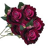 Longra Wohnaccessoires & Deko Kunstblumen Künstliche Rose Silk Blumen 5 Blüte Blatt Garten Dekoration DIY Rosa Blume (03H: 1 Strauß 7 Köpfe)