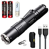 Klarus XT2CR Taktische Taschenlampen 1600 Lumen Ultra Bright Taschenlampe Lampe CREE XHP35 HD E4 LED USB Wiederaufladbar Taschenlampe für Outdoor Sportarten, Household, Suche und Rettung, mit 2 * 3600 mAh 18650 Batteries/Akku USB Kabel and USB Lamp.