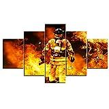 VIIVEI Feuerwehrleute Wand Kunst Leinwand Kunst Wohnkultur für Wohnzimmer Moderne Bilder Bilder 5 Panel Große Poster HD Gedruckte Gemälde gerahmt fertig Zum Aufhängen